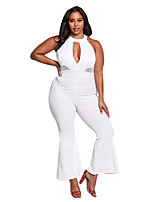 cheap -Women's Going out Club Sexy Solid Round Neck Jumpsuits,Wide Leg Sleeveless Spring Polyester Elastane