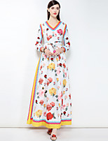 cheap -Women's Cute Basic Boho Swing Dress - Floral Maxi V Neck