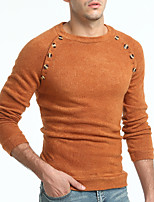 cheap -Men's Daily Casual Long Pullover,Solid Round Neck Long Sleeve Polyester Winter Fall Opaque strenchy