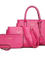 cheap -Women Bags PU Polyester Bag Set 3 Pcs Purse Set Zipper for Casual Office & Career All Season Wine Fuchsia Beige Black Blue