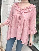 cheap -Women's Casual/Daily Cute Street chic Shirt,Solid V Neck ¾ Sleeve Cotton