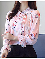 cheap -Women's Daily Casual Spring Summer Blouse Crew Neck Long Sleeves Cotton