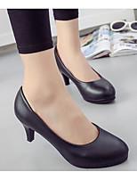 preiswerte -Damen Schuhe PU Frühling Herbst Komfort High Heels Stöckelschuh für Normal Schwarz
