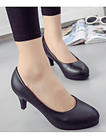 cheap -Women's Shoes PU Spring Fall Comfort Heels High Heel for Casual Black