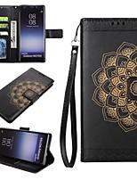 baratos -Capinha Para Samsung Galaxy NNote 8 Carteira Porta-Cartão Com Suporte Flip Com Relevo Corpo Inteiro Mandala Rígida Couro Ecológico para
