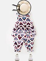 Недорогие -Девочки Повседневные Полоски / Разные цвета Длинный рукав Обычный Обычная Хлопок Набор одежды Синий