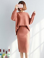 cheap -Women's Daily Going out Cute Casual Sexy Winter Spring Sweater Skirt Suits,Solid Round Neck Long Sleeve Split Cotton Polyester