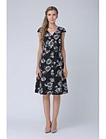 Недорогие -Жен. Офис А-силуэт Платье - Цветочный принт, С принтом V-образный вырез