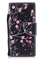 baratos -Capinha Para Sony Xperia XZ1 Xperia XZ1 Compact Carteira Porta-Cartão Com Suporte Flip Estampada Magnética Corpo Inteiro Flor Rígida
