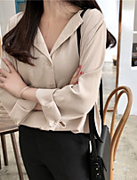 cheap -Women's Daily Casual Winter Fall Shirt,Solid Shirt Collar Long Sleeve Polyester Opaque