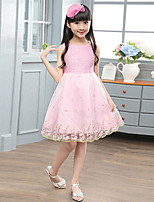 cheap -Girl's Daily Going out Solid Jacquard DressCotton Summer Sleeveless Simple Cute Active Blushing Pink White
