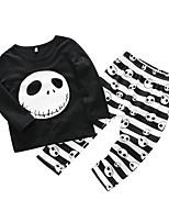 cheap -Baby Unisex Daily Print Clothing Set,Cotton Spring Street chic Long Sleeve Black