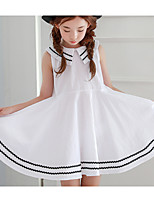 cheap -Girl's Daily Solid Dress,Cotton Summer Sleeveless Cute White