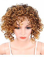 cheap -Synthetic Hair Wigs Curly Kinky Curly African American Wig With Bangs Capless Celebrity Wig Party Wig Natural Wigs Cosplay Wig Brown