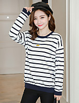 cheap -Women's Casual/Daily Street chic T-shirt,Striped Round Neck Long Sleeves Cotton