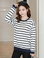economico -T-shirt Da donna Casual Moda città A strisce Rotonda Cotone Manica lunga