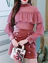 Недорогие -Жен. Рубашка Однотонный Полиуретановая Хлопок