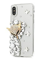 cheap -Case For Apple iPhone X iPhone 8 Plus Rhinestone Pattern Full Body Flower Hard PU Leather for iPhone X iPhone 8 Plus iPhone 8 iPhone 7
