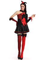 Недорогие -ведьма Косплэй Kостюмы Жен. Хэллоуин Фестиваль / праздник Костюмы на Хэллоуин Черный В клетку
