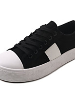 cheap -Women's Shoes PU Spring Summer Comfort Sneakers Flat Heel Round Toe for Casual White Black Beige