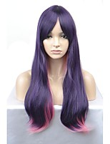 cheap -New European and American fashion wig long paragraph Purple and Pink gradient wave curvature high temperature wire wig