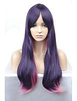 economico -Donna Parrucche sintetiche Lungo Onda naturale Viola scuro Parrucca naturale Parrucca per travestimenti