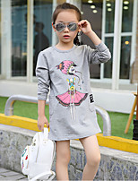 cheap -Girl's Daily Going out Solid DressCotton Summer Long Sleeves Simple Cute Active Gray White