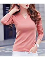 cheap -Women's Going out Street chic T-shirt,Solid V Neck Long Sleeve Polyester