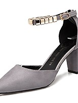 cheap -Women's Shoes Nubuck leather PU Spring Fall Comfort Heels Chunky Heel Pointed Toe for Casual Khaki Gray Black