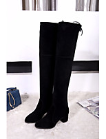 cheap -Women's Shoes Cowhide Winter Fall Comfort Fashion Boots Boots Chunky Heel Over The Knee Boots for Casual Black