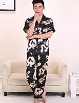 abordables -Costumes Pyjamas Homme,Fleur Fin Polyester Noir Rose Claire Marine
