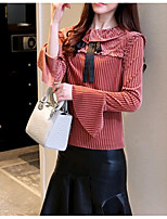 cheap -Women's Daily Cute Spring T-shirt,Solid Striped Round Neck Long Sleeve Polyester