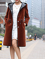 cheap -Women's Going out Vintage Winter Fur Coat,Solid Hooded Long Sleeve Long Rayon Oversized