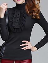 preiswerte -Damen Solide Freizeit Alltag T-shirt,Rollkragen Frühling Herbst Langärmelige Baumwolle