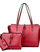 cheap -Women Bags PU Bag Set 3 Pcs Purse Set Zipper for Casual All Season Wine Gray Black