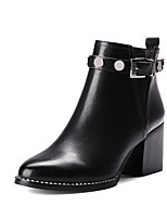 cheap -Shoes PU Winter Combat Boots Boots Chunky Heel Round Toe Mid-Calf Boots Rivet for Casual Black Burgundy