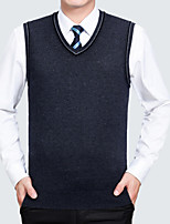 cheap -Men's Daily Solid Color V Neck Vest, Sleeveless Spring Polyester