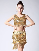 cheap -Latin Dance Outfits Women's Performance Spandex Tassel(s) Sleeveless Dropped Skirts Tops