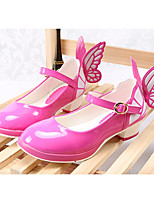 Недорогие -Девочки обувь Полиуретан Весна Осень Удобная обувь Крошечные Каблуки для подростков Обувь на каблуках для Повседневные Черный Пурпурный