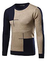 Недорогие -Для мужчин На каждый день Уличный стиль Обычный Пуловер Контрастных цветов,Круглый вырез Длинный рукав Кашемир Зима Осень Толстая strenchy