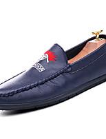 Недорогие -Муж. обувь Искусственное волокно Весна Осень Светодиодные подошвы Мокасины и Свитер для Повседневные Белый Черный Синий