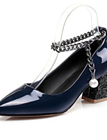 cheap -Women's Shoes PU Spring Fall Comfort Novelty Heels Chunky Heel Pointed Toe Beading Rivet for Wedding Party & Evening Burgundy Blue
