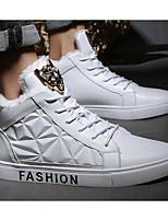 Недорогие -Для мужчин обувь Искусственное волокно Зима Осень Удобная обувь Кеды для Повседневные Белый Черный Красный