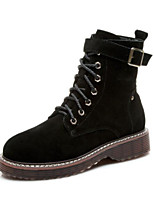 Недорогие -Для женщин Обувь Полиуретан Зима Удобная обувь Армейские ботинки Ботинки На низком каблуке Круглый носок Закрытый мыс Сапоги до середины