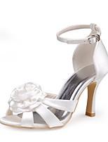 preiswerte -Damen Schuhe Seide Frühling Sommer Pumps Hochzeit Schuhe Stöckelabsatz Peep Toe Satin Blume für Hochzeit Party & Festivität Elfenbein