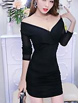 preiswerte -Damen Hülle Kleid-Klub Ordinär Solide V-Ausschnitt Mini Langärmelige Polyester Sommer Mittlere Taillenlinie Mikro-elastisch Undurchsichtig