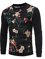 cheap -Men's Daily Casual Floral Round Neck Sweatshirt Regular,Long Sleeve Fall Polyester