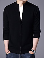 cheap -Men's Daily Casual Regular Cardigan,Solid Round Neck Long Sleeves Nylon Wool Blend Winter Opaque Micro-elastic