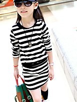 cheap -Girl's Daily Striped Dress,Cotton Spring Fall Long Sleeves Cute Black