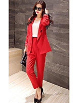 cheap -Women's Work Street chic Fall Blazer Pant Suits,Solid V-neck Long Sleeve Pure Color Polyester Micro-elastic